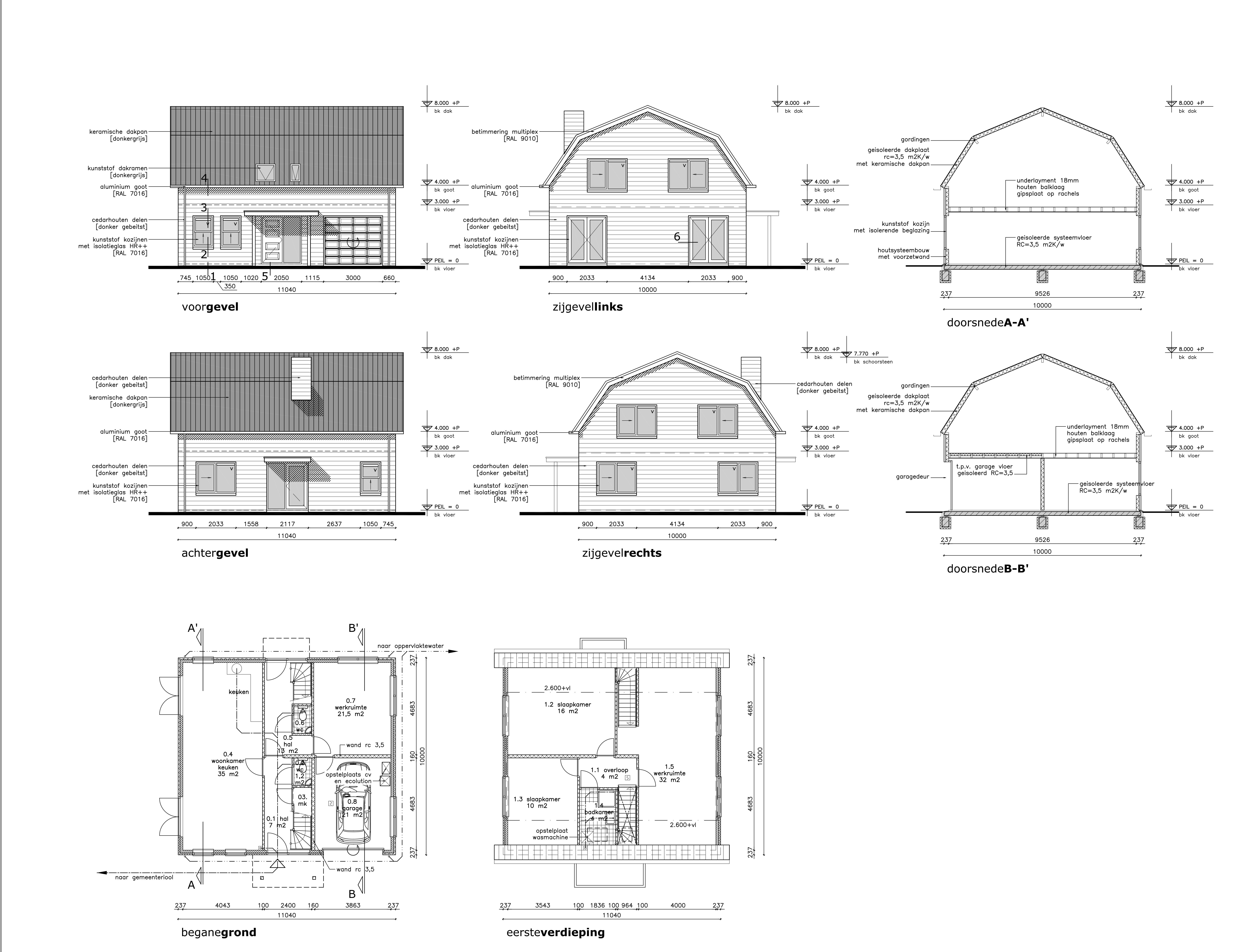 Bouwtekening mansardedak aanbouw huis voorbeelden for Trap tekenen programma